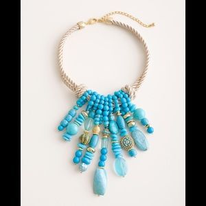 NWT Chico's Faux Turquoise Dangle Bib Necklace